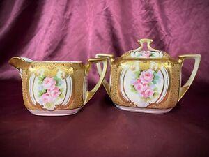 Nippon Morimura Bros Hand Painted Creamer & Sugar Set Pink Roses Gold Moriage