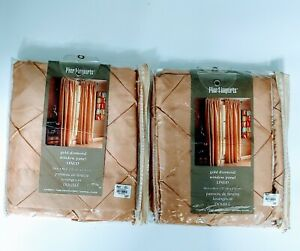 """Pier One 1 Imports Lined Drapery Window Curtains 54 X 84"""" 4 Panels Gold Diamond"""
