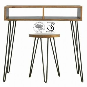 Writing Desk Made From Solid Wood With Iron Legs with Stool