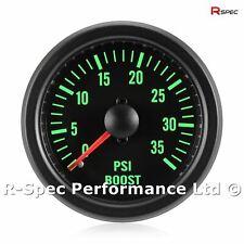52mm Green Traditional 35 PSI Turbo Diesel Black Face Boost Pressure Gauge Kit