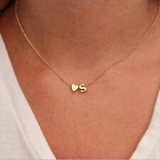 1 Gold & Silver Charm Heart Letter Alphabet Necklace Pendant A-Z Choker Chain
