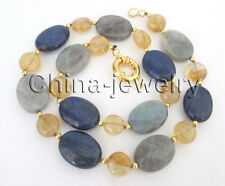 "P7776 - 17.5"" 11-20mm natural lapis lazuli & crystal & moonstone necklace - GP"