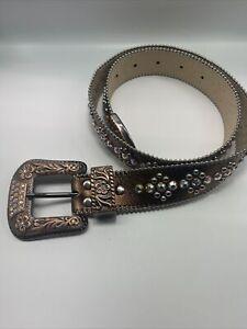 BB Simon Swarovski Crystal Copper Leather Belt 100% Authentic!