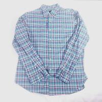 Polo Ralph Lauren Casual Button-Down Shirt Blue Green Pink Plaid Size Large