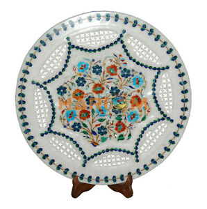 """16"""" Marble Decorative Plate Grill Carnelian Turquoise Floral Inlay Decors P040"""