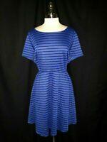 MODCLOTH Plus Size 3X A-Line Dress Blue Black Striped Short Sleeve USA