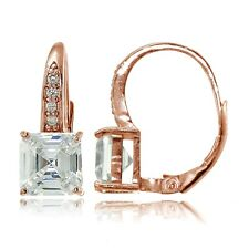 Rose Gold Tone over 925 Silver Cubic Zirconia Asscher Cut Leverback Earrings
