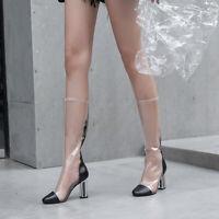 Women Transparent Block Crystal Heel Mid Calf Boots Clear Back Zipper Punk Shoes