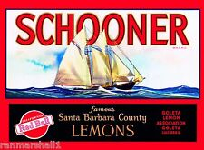 Goleta Santa Barbara County Schooner Lemon Citrus Fruit Crate Label Art Print
