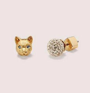 NEW Kate Spade House Cat Pave 12 Kt Gold Plated Brass Studs Earrings