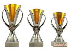 3er Serie Design Pokale in Gold-Silber 16 - 19 cm inkl. Gravur und Emblem 420