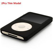 2pcs Silicone Rubber Skin Soft Case Cover Black fr iPod Classic 80GB/120GB/160GB