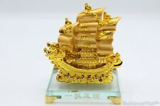 Gold Double Dragon Feng Shui Wealth Ship Home Office Business Decoration