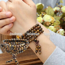 Natural Tiger Eye Bracelet Necklace 108 Buddhist Paryer Beads Cuff Wrist Bangle