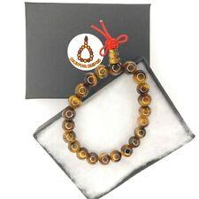 Genuine Tigers Eye Gemstone Power Bracelet elastic cord Mala Prayer Beads Chakra