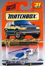 Matchbox MB 31 Mission Chopper Helicopter White Air Search Mint On Card 1999