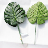 10pcs Artificial Monstera Palm Spray Fern Turtle Leaf Plant Tree Branch Green
