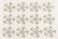 24 PEARL & DIAMANTE Embellishments Self Adhesive Flowers Crystal Gem Approx 25mm