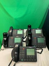 Lot of 5 Nortel Networks M3904 Charcoal Telephones w/ headsets, cords