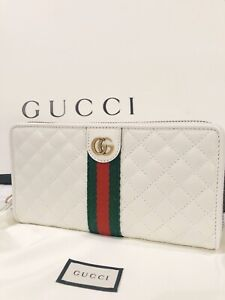 NWT 100% Authentic GUCCI GG Marmont Quilted Leather Zip Around Wallet in White
