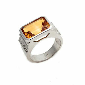 925 Sterling Silver Natural Golden Topaz Gem Stone Men's Ring Jewelry Us 7 To 10