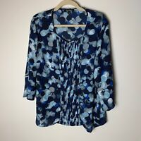 Roz & Ali Women's Top Size XL Blouse 3/4 Bell Sleeves Keyhole Neck Casual Dressy