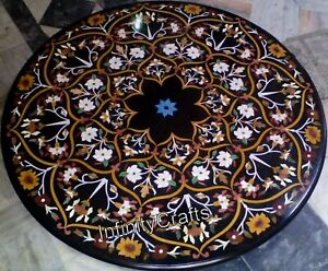 Marquetry Art with Gemstones Patio Dining Table Top Mable Lawn Table 48 Inches