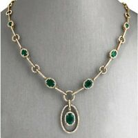 """14.63CTW EMERALD AND DIAMOND 14K YELLOW GOLD OVER 16"""" FLOWER TENNIS NECKLACE"""