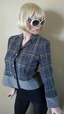 Nwt $130 Harve Bernard Pearl Purple Tweed Short Blazer Jacket Womens 8 Petite
