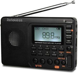 Retekess V115 Shortwave Radio - AM FM Radio Digital Tuner, Rechargeable...