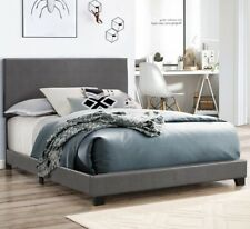 Platform KING Size Bed GRAY Leather Headboard Bedroom Furniture
