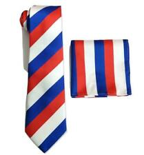 Mens Striped Royal blue Red White necktie tie wedding event prom Set