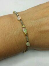 2ct genuine gray silver diamond 1ct Ethiopian fire Opal bracelet solid 14k gold