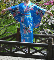 Hot Vintage Kimono Yukata Gown Japanese Floral Robe Haori Geisha Dress with Obi