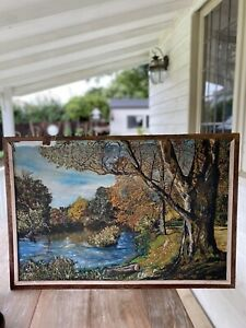 LARGE Old IMPASTO LANDSCAPE Painting MID CENTURY c1940 Picture Framed Signed