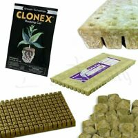 GRODAN A OK ROCKWOOL STONEWOOL HYDROPONIC GROW MEDIA + CLONEX ROOTING GEL 15 ML