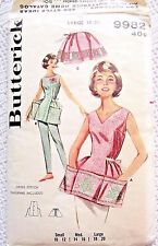 9982 SEWING PATTERN&CROSS STITCH CHART~UNCUT 1960s~COBBLER APRON SZ SM 18-20