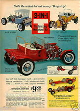 1964 PAPER AD 3 in 1 Customized motorizing Kit Blue Streak Hot Rod Canary Model