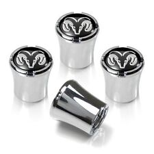 Dodge Ram Head Logo Tire Valve Stem Cap Black and Silver Set of 4 MADE IN USA