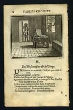 FABLE LA FONTAINE du Thesauriseur et le singe 1703