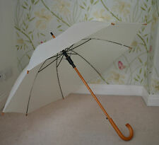 Large Ivory Cream Wood Stick Wedding Umbrella Automatic Golf Guest Parasol