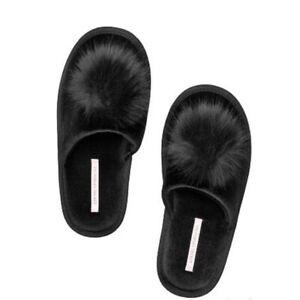 Victoria's Secret Pure Black MEDIUM 7-8 Pom Pom Slippers NEW Cozy!