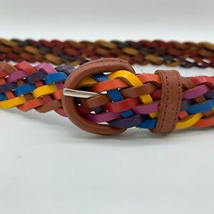 "Rainbow Woven Leather Belt M/L 40"" Braided ~ Made in Guatemala ~ Boho Braid Belt"
