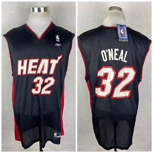 NWT! Shaquille O'Neal Men's Large L Miami Heat Reebok Black NBA Jersey Shaq L
