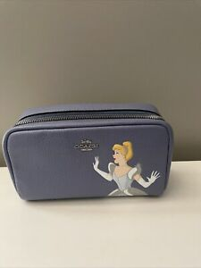NWT Disney X COACH Limited Edition SmallBoxy Cosmetic Case Cinderella Periwinkle