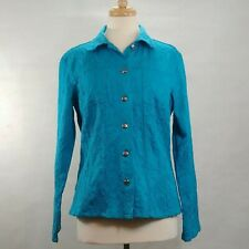 CHICOS Misses Size 1 Turquoise Long Sleeve Button Up Textured Waist Jacket