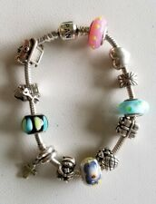 """Pandora Sterling Silver Bracelet With 12 Charms (7-1/2"""")"""