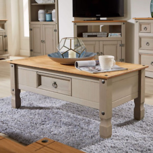 Grey Coffee Table, Solid Wood, Rustic Design, Metal Ring Handle And Corner Bolts