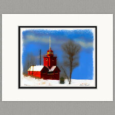 Big Red Lighthouse Holland Michigan Original 8x10 Art Print Matted to 11x14