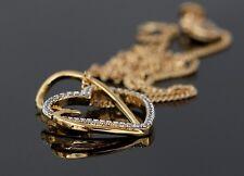 chaine et Pendentif Pour Femme double Coeur + Brillants En Plaqué Or luxe neuf